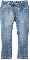 Osh Kosh Girls 4-8 Polka-Dot Pull-On Denim Pants