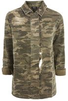 Topshop Ripped studded camouflage print shacket