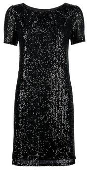 Dorothy Perkins Womens Black Sequin Puff Sleeve Shift Dress, Black