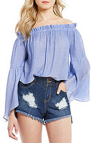 GB Off-The-Shoulder Bell-Sleeve Top