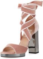 Valentino Velvet Chunky Platform Sandal