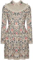 Needle & Thread Whisper Tulle-trimmed Embellished Chiffon Mini Dress - Blush