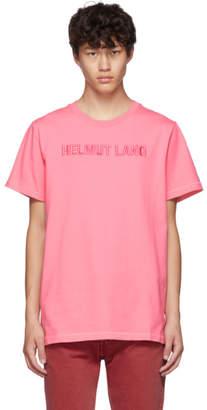 Helmut Lang Pink Embroidered Logo Standard T-Shirt