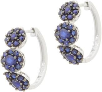 Sterling Silver Precious Gemstone Flower Cluster Hoop Earrings