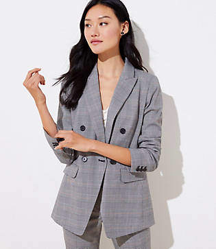 LOFT Plaid Long Double Breasted Blazer