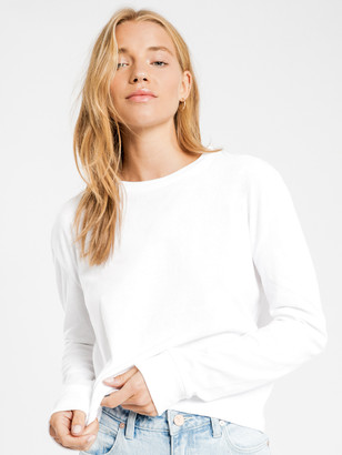 Nude Lucy Xavier Crop Long Sleeve BF T-Shirt in White