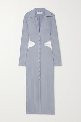 Reformation Belmond Cutout Ribbed Cotton-blend Dress - Blue