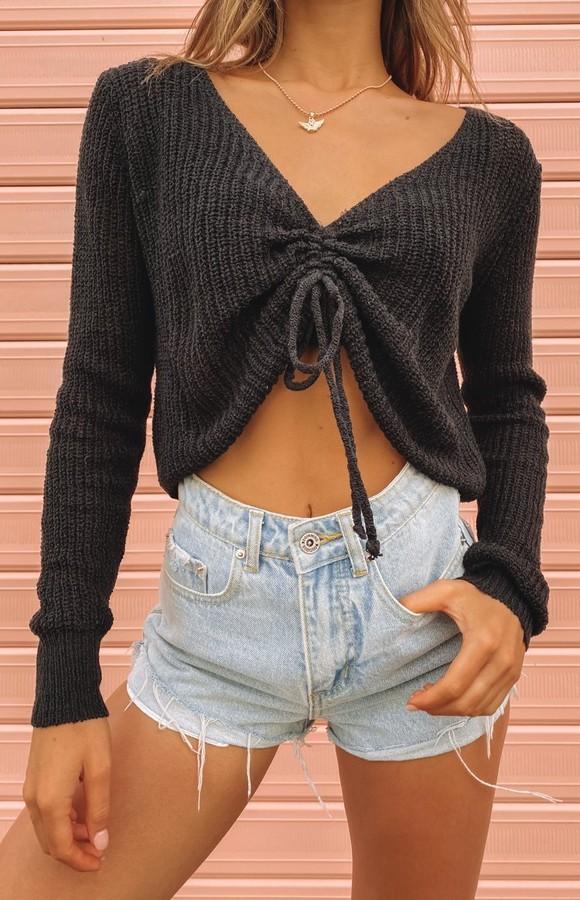Beginning Boutique Kira Ruched Knit Top Black
