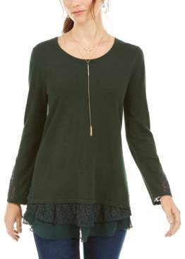 Style&Co. Style & Co Petite Lace-Trimmed Long-Sleeve Top, Created for Macy's