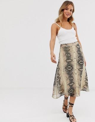 Pieces snake print midi skirt-Gray