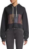 RE/DONE Cropped Raw-Hem Graphic Hoodie