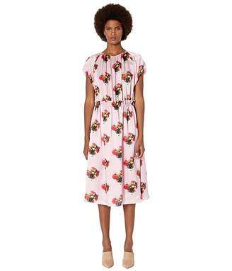 ADAM by Adam Lippes Printed Hammered Silk Short Sleeve Ruffle Waist Dress
