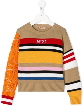 No.21 Kids floral lace sleeve striped jumper