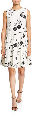 Oscar de la Renta Flower Pleated Sleeveless A-Line Dress