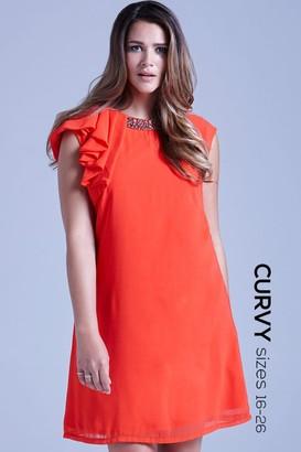 Little Mistress Curvy Curvy Coral Chiffon Embellished Drape Shoulder Dress