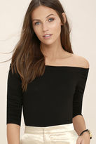Lush What You Need Black Off-the-Shoulder Bodysuit