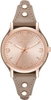 Arizona Womens Rose Gold Tone Taupe Strap Watch