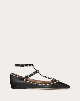 Valentino Rockstud Grainy Calfskin Ankle Strap Ballet Flat Women Black Polyester 74%, Elastane 26% 37