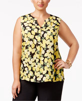Nine West Plus Size Lemon-Print Shell