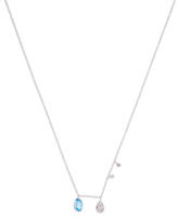 Meira T 14K White Gold, Blue Topaz & 0.08 Total Ct. Diamond Necklace