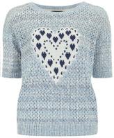 Dorothy Perkins Denim heart mesh jumper