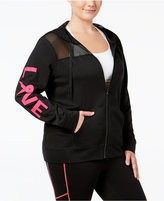 Material Girl Active Plus Size Pink Ribbon Mesh-Trim Hoodie, Only at Macy's