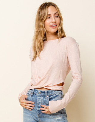 West Of Melrose Make The Cut Open Back Twist Tie Womens Pink Tee