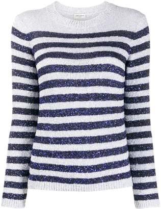 Saint Laurent sequinned striped jumper