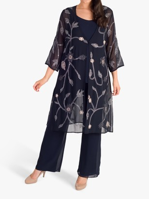 Chesca Embroidered Chiffon Coat, Navy