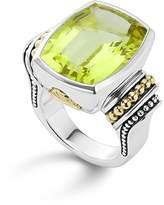 Lagos 18K Gold and Sterling Silver Caviar Color Large Green Quartz Ring
