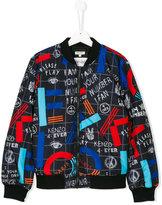 Kenzo Teen multi print bomber jacket