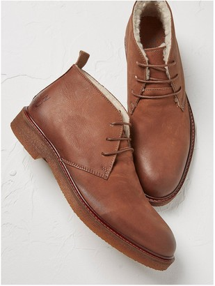 Fat Face Devon Borg Lined Leather Chukka Boots - Tan