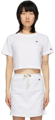 Champion Reverse Weave White Cropped Logo T-Shirt