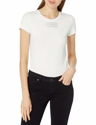 GUESS Women's Short Sleeve Crystals Logo Tee