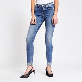 River Island Blue ripped Amelie mid rise skinny jeans