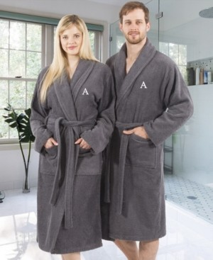 Linum Home 100% Turkish Cotton Personalized Terry Bath Robe - Gray Bedding