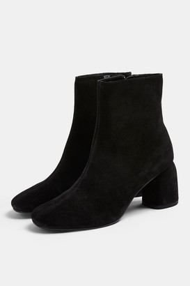 Topshop BOMBAY Black Leather Heeled Boots