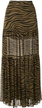 Veronica Beard Tiger Print Maxi Skirt