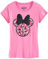 Disney Disney's Minnie Mouse Girls 7-16 Many Minnie's Glitter Bow Graphic Tee