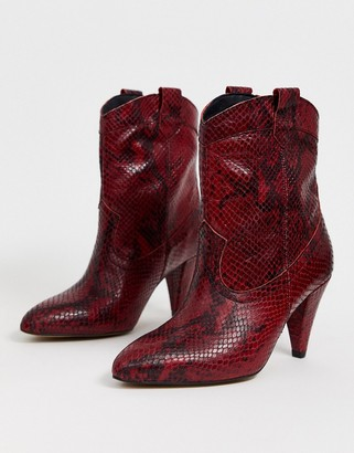 Asos Design DESIGN Ranch leather western pull on boots in red snake