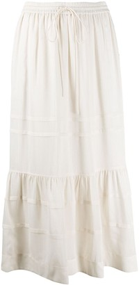 Coach Striped Tiered Midi Skirt