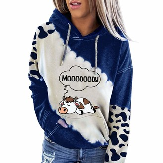 Hefyba Sleeping Cow Print Sweatshirt Ops for Women Drawstring Hoodie Pullover Blouse with Front Pockets Letter Print Ladies Going Out Shirt Gradient Long Sleeve Color Block Teen Girls Tops Blue