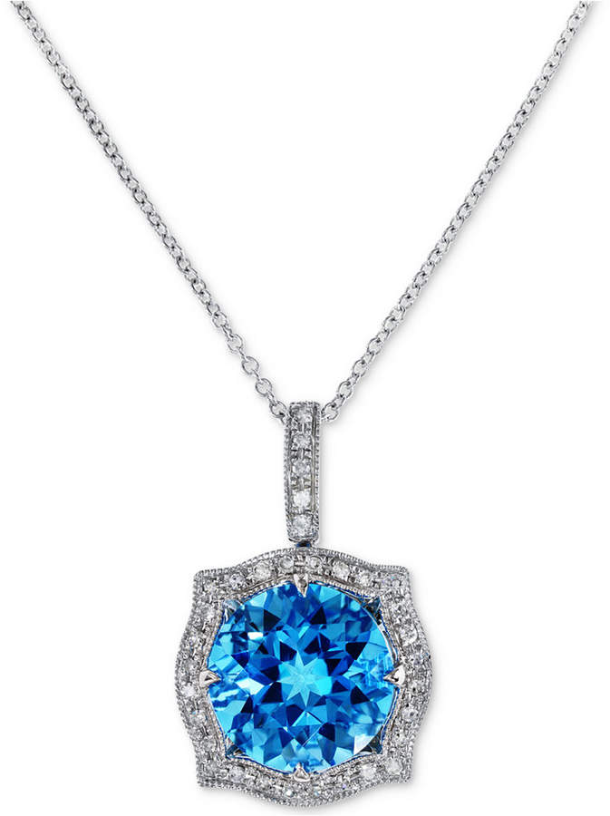 Effy Final Call by Blue Topaz (4-3/8 ct. t.w.) & Diamond (1/8 ct. t.w.) Pendant Necklace in 14k White Gold
