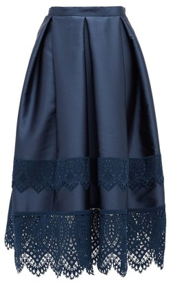 Erdem Ina Guipure-lace Trimmed Mikado Skirt - Navy
