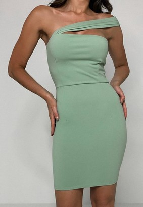 Missguided Sage Scuba Crepe Asymmetric Mini Dress