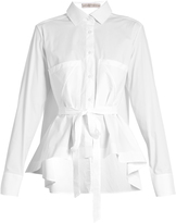 Palmer Harding PALMER/HARDING Extended waterfall-hem cotton-poplin shirt