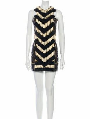 Balmain Lamb Leather Mini Dress Black