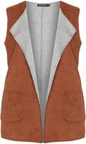 Jette Joop Plus Size Open faux suede sleeveless jacket