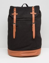 Asos Backpack In Canvas With Brown Long Straps