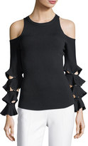 Jonathan Simkhai Slashed Ruffle Cold-Shoulder Top